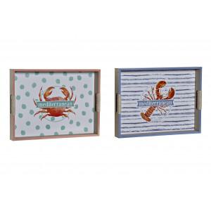 Drevená tácka s morským motívom kraba, raka 40x30x5 cm 32759