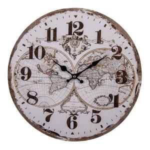 Drevené hnedo-biele nástenné hodiny vo vidieckom vintage štýle s mapou sveta Ø 34*1 cm Clayre & Eef 35015
