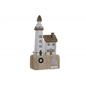 Drevený bielo-hnedý maják s domčekom v morskom vintage štýle 14 x 7 x 27,5 cm 35276