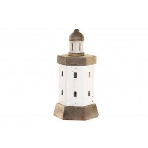 Drevený bielo-hnedý maják v morskom provensálskom štýle 17 x 15 x 33 cm 35284