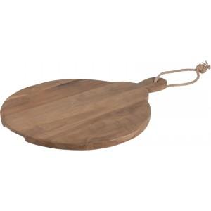 Drevená doska-podnos teaková okrúhla 51 x 37,5 x 2 cm 34275