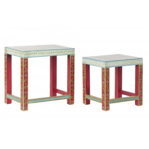 Drevený stolík veľký ručne maľovaný z mangového dreva s krásnym folkovým dekorom 45 x 30 x 45 cm 35363