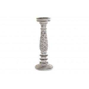 Drevený vyrezávaný svietnik biela patina 12,5x12,5x35 cm 32787