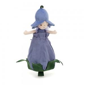 Fialová bábika s krídlami a kvetinovým klobúkom vložená v kvietku Jellycat Petalkin Doll Bluebell 28 cm 33494