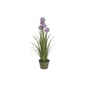 Fialové kvety v kovovom kvetináči 50x50x115 cm 32806