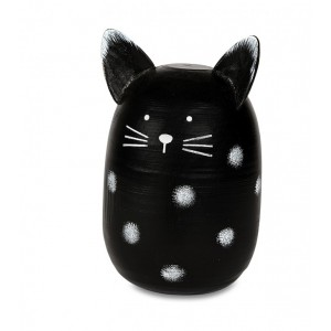 Mačka drevená čierna 11x17cm 25684