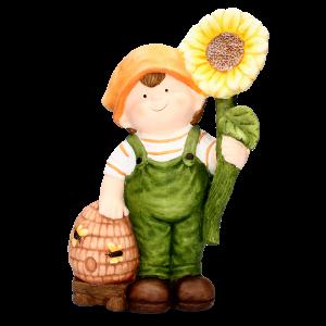 Chlapec keramický s úľom a slnečnicou 33936