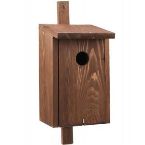 Hnedá drevená vtáčia búdka so strieškou 34899