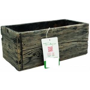 Hnedý kvetináč z cementu v tvare truhlíka z imitáciou dreva 44 cm 34456