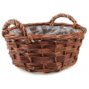 Hnedý prútený košík s rúčkami na kvety 34541