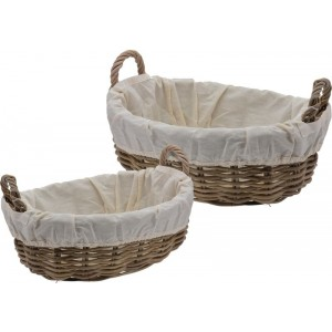 Ratanový košík s bavlnenou látkou 22716