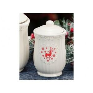 Keramická dóza biela alebo červená s jeleňom 10x16,5 cm 32844