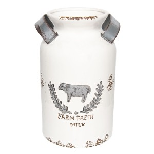Keramická konva biela s patinou a s motívom kravy 20x31 cm Clayre-Eef 32682