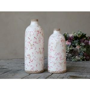 Keramická krémová fľaša s obitým vzhľadom s dekorom ružových kvietkov vo vintage štýle 26x11 cm Chic Antique 33764