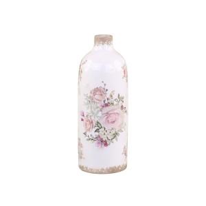 Keramická krémová fľaša s obitým vzhľadom s dekorom ružových kvietkov vo vintage štýle 31,5x11,5 cm Chic Antique 33770