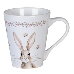 Keramický biely hrnček s motívom zajačika a motýľov 300 ml Clayre & Eef 35013