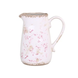 Keramický krémový džbán s obitým vzhľadom s dekorom ružových kvietkov vo vintage štýle 19x16,5x11,5 cm Chic Antique 33763