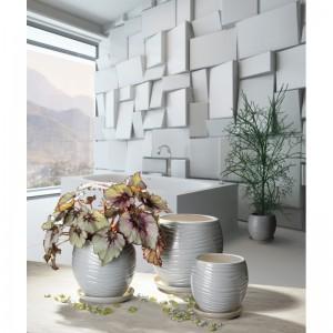 Keramický kvetináč moderného dizajnu s podmiskou Naomi sivý glazovaný výška 22 cm x 22 cm