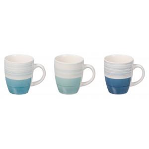 Keramický pohár bielo modrý, bielo tmavomodrý ablebo bielo tyrkysový 360 ml 9xH10,5 cm 33159