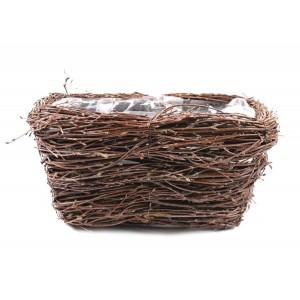 Košík - truhlík z brezy hnedý vystlaný fóliou na sadenie rastlín 30x18x15h cm 32173