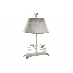 Kovová biela stolná lampa na podstavci s krásnym dekorom vtáčikov s obitým vzhľadom vo vintage štýle 44 x 43 x 75,5 cm 35332