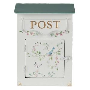 Kovová poštová schránka v krémovej farbe s dekorom lúčnych kvetov s vtáčikom a zlatým nápisom značky Clayre & Eef 34723