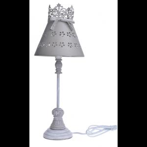 Kovová sivá stolná lampa na drevenom podstavci s krásnym dekorom a bielou patinou vo vintage štýle 17 x 17 x 45 cm 35484