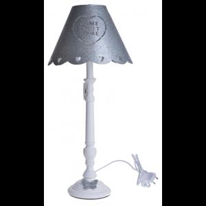Kovová sivo-biela stolná lampa na drevenom podstavci s krásnym dekorom a bielou patinou vo vintage štýle 25 x 25 x 55 cm 35485
