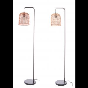 Kovová stojacia lampa s ratanovým tienidlom 25xH144 cm 33152
