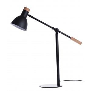 Kovová kancelárska čierna stolná lampa s kovovým tienidlom a drevenými prvkami 61 x 19 x 66 cm 35486