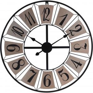 Kovové čierne nástenné hodiny s drevenými prvkami 34267