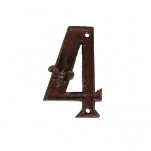 Kovové číslo 4 na dom 7,4x1,2x11,7 cm Esschert design