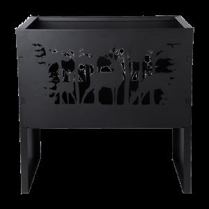 Kovové ohnisko čierne s laserom rezanými jeleňmi Esschert design 34779