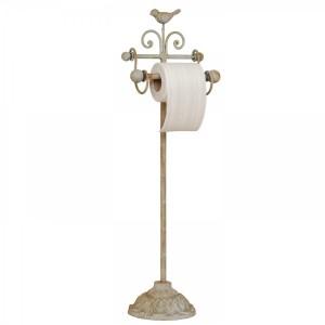 Kovový krémový patinovaný vintage stojan na WC papier 69 cm Clayre-Eef 31375