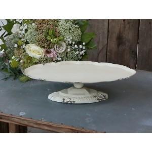 Kovový podnos v krémovej patine na podstavci výška 8,5 cm x šírka 33 cm / 20 cm Chic Antique 33750