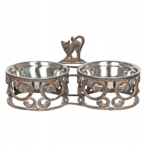 Kovový stojan na misky pre mačky s obitým vzhľadom Clayre & Eef 34578