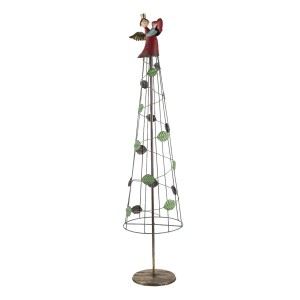 Kovový stromček vianočný ako dekorácia s anjelikom na špice 110 cm Clayre & Eef 35027