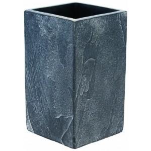 Kvetináč vysoký hranatý z cementu s efektom bridlicového kameňa sivý 30 cm 345