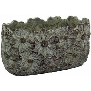 Kvetináč z cementu oválny s kvietkovaným efektom sivohnedý 22 cm 34507