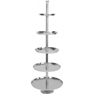Luxusne vyzerajúci päťposchodový hliníkový stojan ako etažér 61 x 170 cm 35068