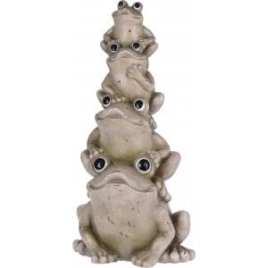 Maxi záhradná dekorácia z polyresinu štyri sivé žaby postavené na sebe výška 68 cm 33408