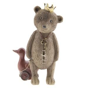 Medvedík s kačkou na kolečkách z polyresinu 8x7x13 cm Clayre-Eef 33233