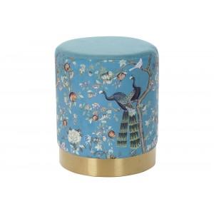 Modrá na dotyk jemná taburetka na sedenie s motívom pávov 32 x 32 x 38 cm 35334