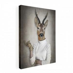 Obraz na plátne Canvas človek s hlavou jeleňa 60x80 cm 32498