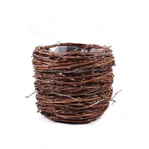 Okrúhli košík - kvetináč z brezy vystlaný fóliou na sadenie rastlín 14x14x12 cm 33460