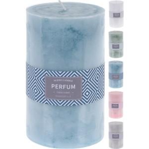 Parfumovaná sviečka v tvare valčeka 9 x 15 cm biela, zelená, modrá, ružová alebo sivá 33357