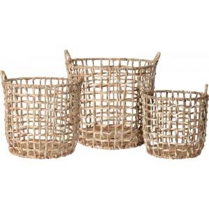 Pletený okrúhly košík z vodného hyacintu a palmových listov malý 34 x 34 x 36 cm 35122