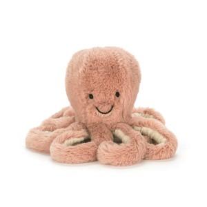 Plyšová marhuľová chobotnica s čiernymi očami a veľkým úsmevom Jellycat Odell Octopus 14 cm 35375