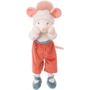 Plyšová myška Winter Annie s oranžovýcmi zaplátanými nohavicami a čiapkou s brmbolcom 40 cm Bukowski design 35585