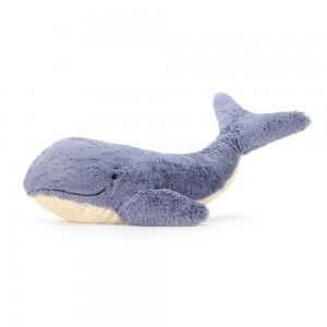 Plyšová veľká modro biela veľryba Jellycat Wilbur Whale 20x46 cm 33513